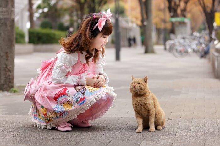 fille en déguisement disant bonjour au chat