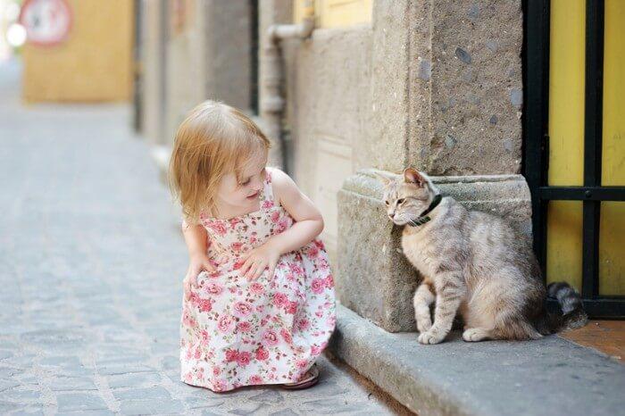 petite fille en plein air salutation chat
